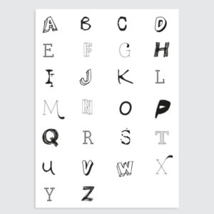 kinderkamer letter poster zwart wit tekst grijs
