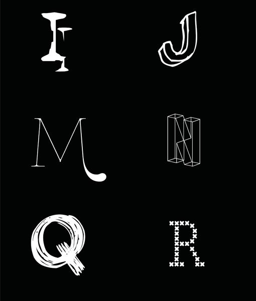 alfabet letter poster muur zwart wit detail