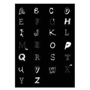 alfabet letter poster zwart