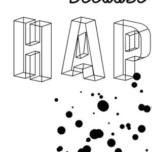 happy poster zwart wit detail