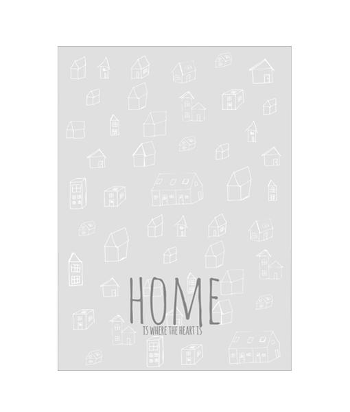 Heart Home Poster Zwart Wit