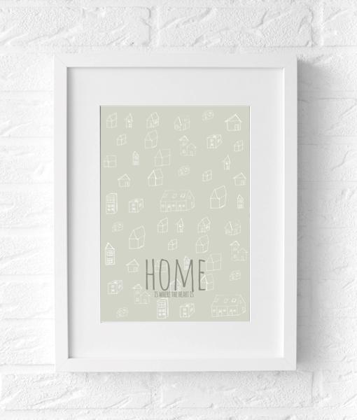 Home heart tekst poster muur