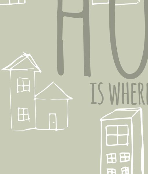 Home heart tekst poster muur detail