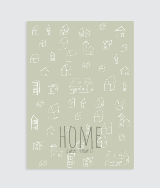 Interieurposter Home is where the heart is (groen)