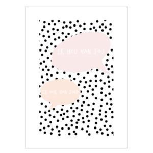 liefde poster tekst roze alg