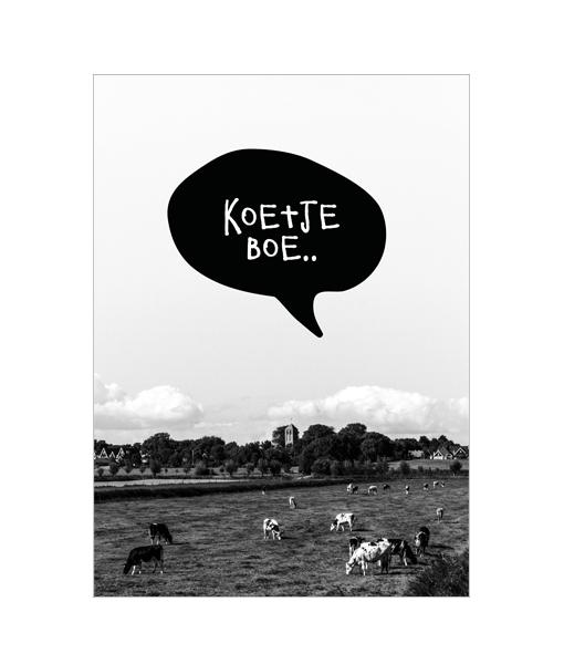 poster fotografie zwart wit koe