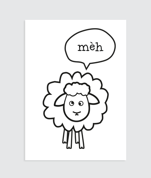"""Poster slaapkamer Schaap """"Meh"""" Homemade Poster"""