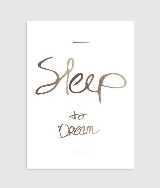 """Slaapkamer Poster """"Sleep to dream"""" (Bruin)"""