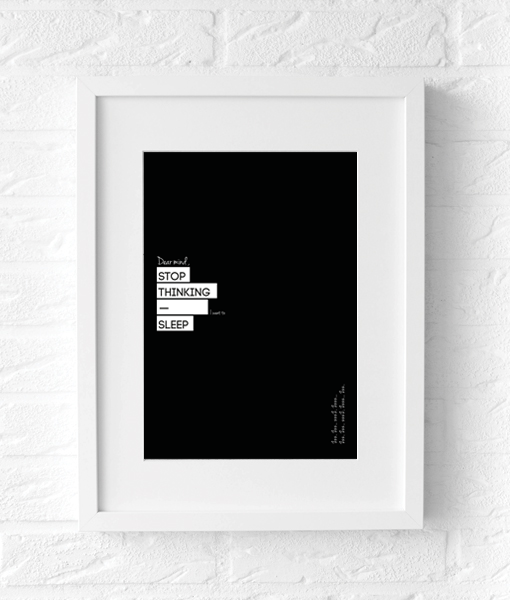 Slaapkamer poster Thinking tekst zwart wit poster muur