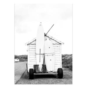 Surf huisje poster fotografie zwart wit