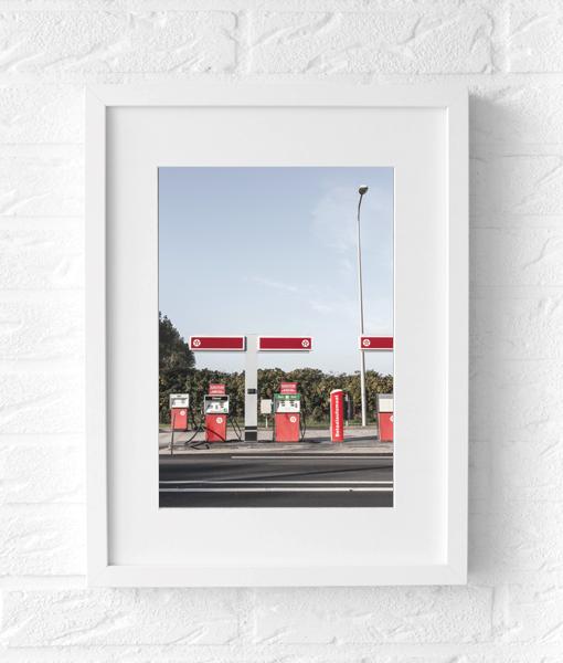 Tankstation foto poster muur