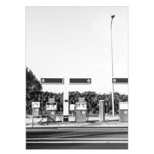 tankstation poster fotografie zwart wit