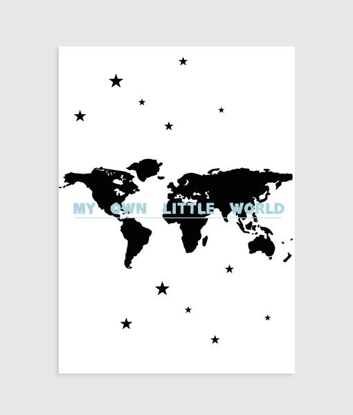 "Wereldkaart Poster (blauw) ""My ow little World"""