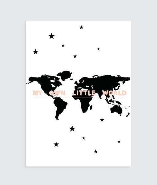 "Wereldkaart Poster (Roze) ""My own little world"" muurposter"