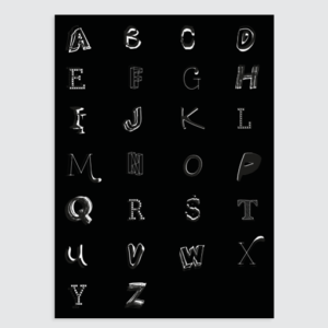 zwart wit kinderkamer poster letters