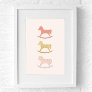 Hobbelpaard Kinderkamer poster (roze) muur