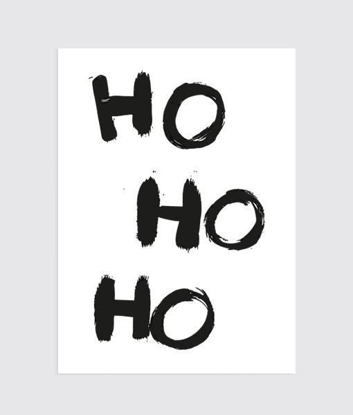 Kerst Poster Ho Ho Ho..! Wit