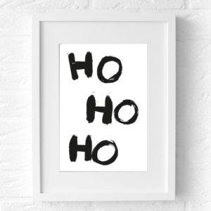 Kerst Poster Muur Ho Ho Ho (white)