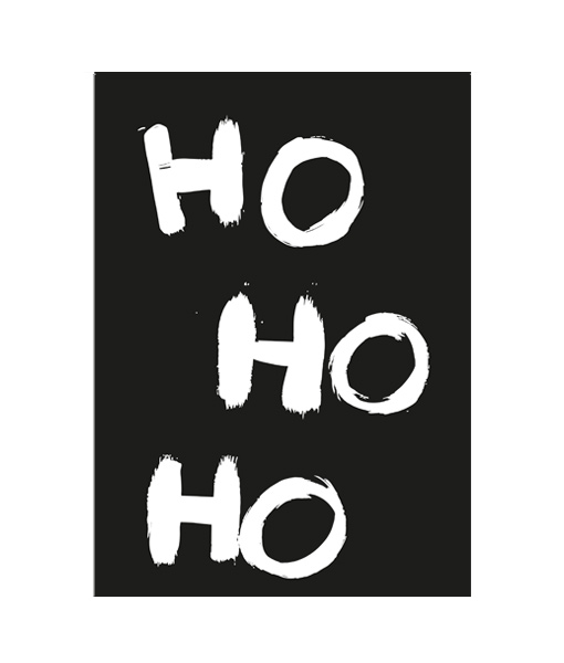Ho Ho Ho zwart wit poster kerst