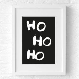 Kerst poster Ho Ho Ho Merry CHristmas (zwart) muur