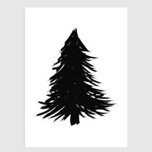 Kerst poster 'Kerstboom' zwart wit