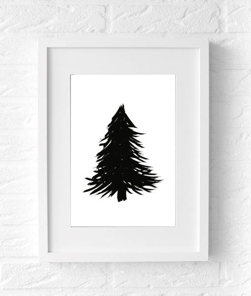 Kerstboom Poster Zwart wit feestdagen muur