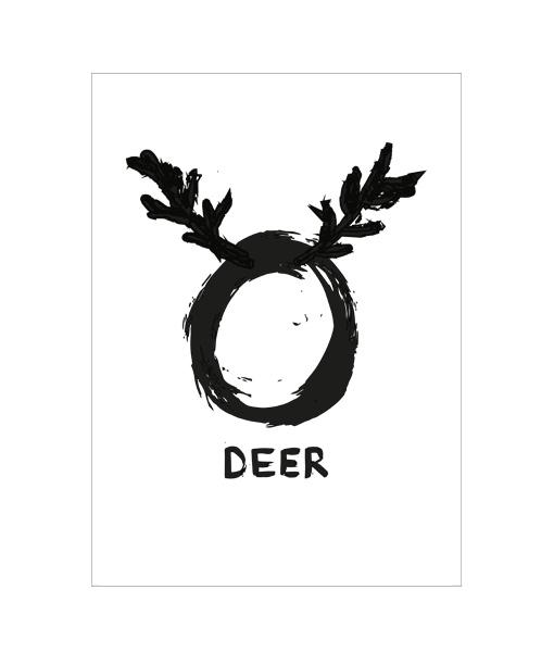 O deer poster kerst zwar wit