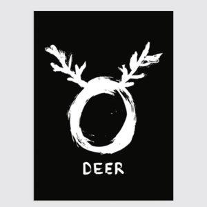 O deer Zwart Wit Kerst Poster