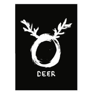 Kerst poster O deer Zwart Wit