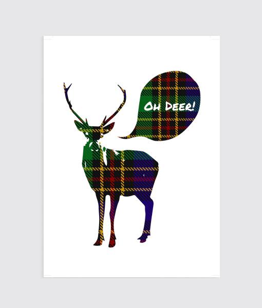 Schots printje kerst poster Oh Deer