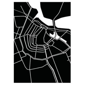 amsterdam kaart poster zwart