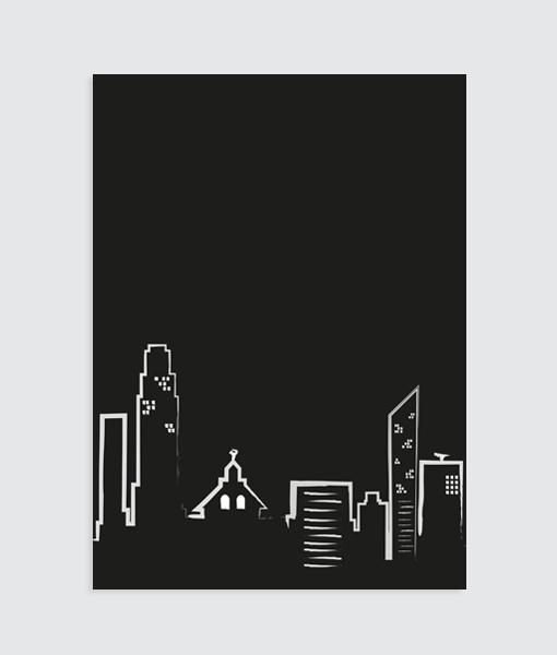 stad poster zwart wit