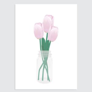 hollandse tulpen roze poster