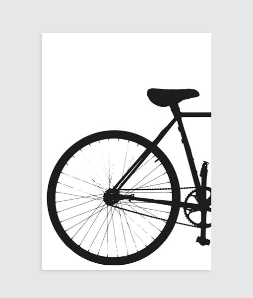 zwart wit poster fiets