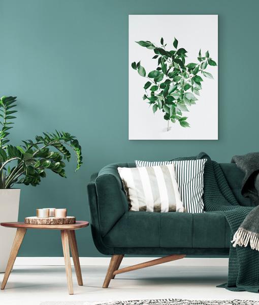 Botanische poster groene tak woonkamer